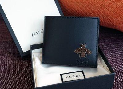 Gucci 428742 CWLYT 1093 金屬蜜蜂短夾 黑