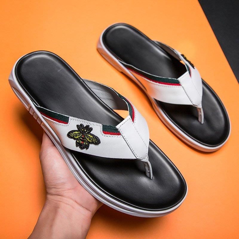 【時尚先生男裝】大碼男鞋2020男士牛皮涼拖鞋男式拖鞋2020春夏潮頭層牛皮沙灘鞋男 2005240394