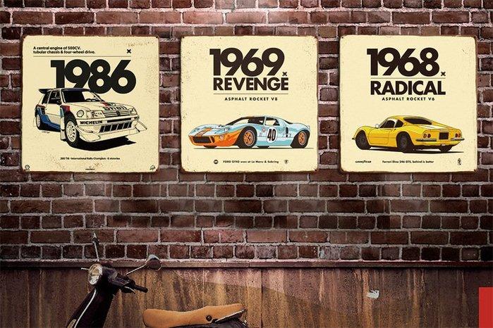 暖暖本舖 歐美風美國復古車掛飾 鐵皮掛畫 歐美復古風 牆壁掛飾 50年代復古畫 壁畫 餐廳裝潢 咖啡廳裝潢 室內房間裝潢