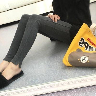 【Mi Ni】韓國連線 東大門代購 秋冬純色拼接設計褲腳開叉修身顯瘦可外穿打底褲女褲