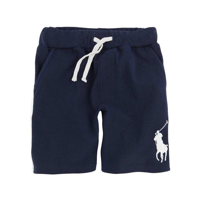 美國百分百【Ralph Lauren】棉褲 短褲 休閒褲 褲子 Polo 網眼運動 RL 大馬 深藍色 XS號 H955