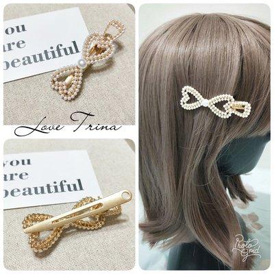 【Love Trina】9109-0520。愛心珍珠蝴蝶結金屬壓夾(6.5CM)。髮夾。髮飾(1色)