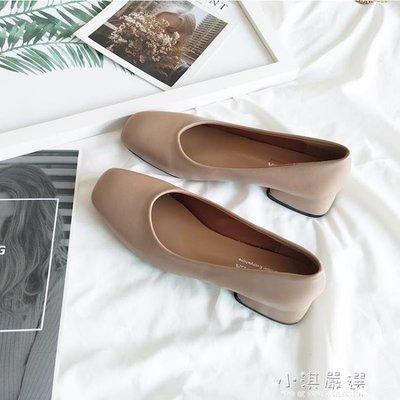 日和生活館 方頭單鞋女淺口低跟粗跟奶奶鞋復古風裸粉色仙女矮跟上班鞋四季鞋 S686