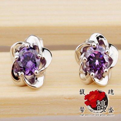 水晶【承佑典傳紫水晶耳環】耳 耳針 耳飾  桃花 銀飾 奧地利 平穩 含開光 馥瑰馨盛NS0368