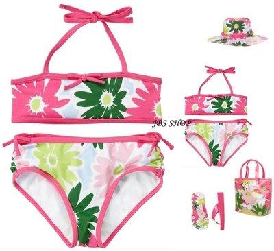 GYMBOREE 粉紅色綠色春天花朵兩截式泳裝3/4/7/8/9yrs  **JBS SHOP*