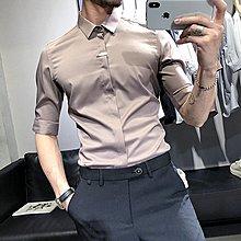 【英爵倫】夏季純色襯衫男短袖修身韓版休閑方領五分袖襯衣青年潮流男裝