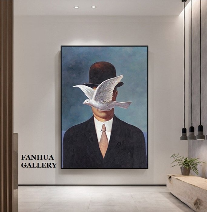 C - R - A - Z - Y - T - O - W - N 純手繪立體油畫Rene Magritte馬格利特經典作品世界名畫手繪油畫超現實主義藝術家掛畫