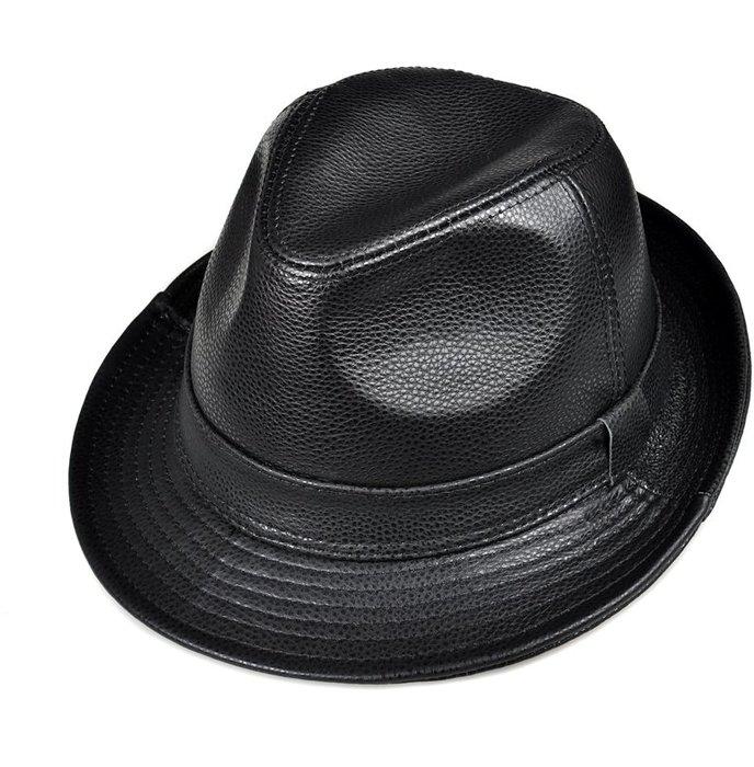 ~皮皮創~原創設計手作真皮紳士帽子。 英倫風復古時尚百搭雅痞帽 黑色頭層牛皮小禮帽