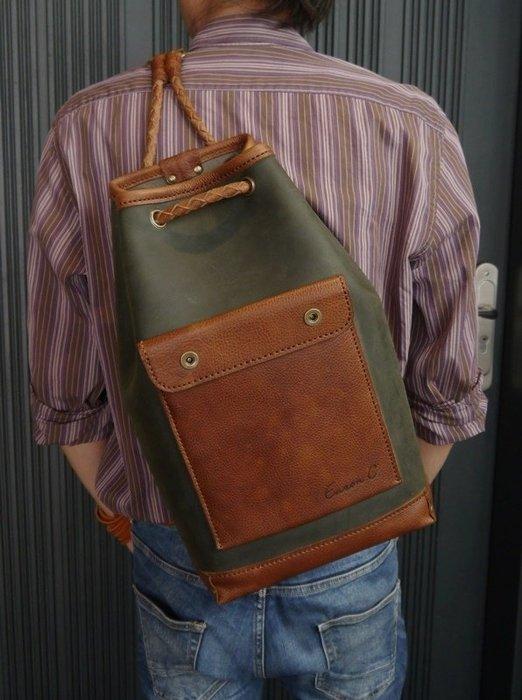 KH手工皮革工作室 MIT台灣製造 單肩後背包 牛皮後背包 水手包 編織背帶內夾層可放手機皮夾 皮革縫線顏色自選配色