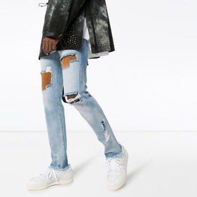 424 skinny fit nubuck panelled jeans  男磨砂拼接修身單寧褲 限時折扣代購中
