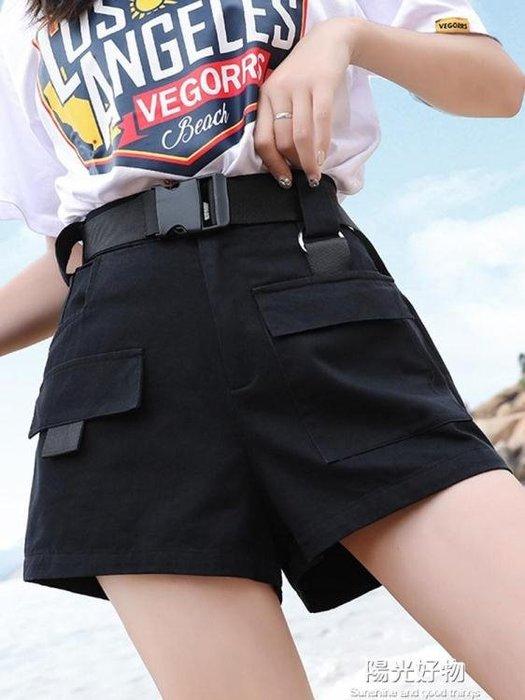bf風工裝短褲女新款寬鬆帥氣學生日系高腰顯瘦中性直筒五分褲