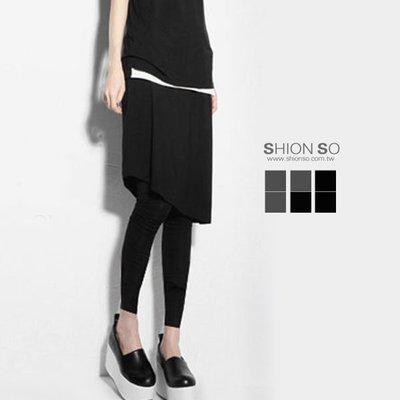 享瘦衣身中大尺碼【B2057】斜邊下擺設計假二件式裙拼接內搭長褲