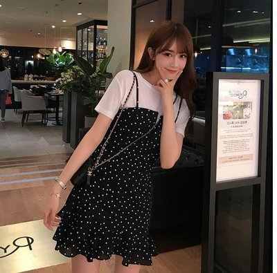 【歐慕家居】夏季新款波點連身裙超仙女小清新短款小個子兩件套裝吊帶裙子-OMJJ224298
