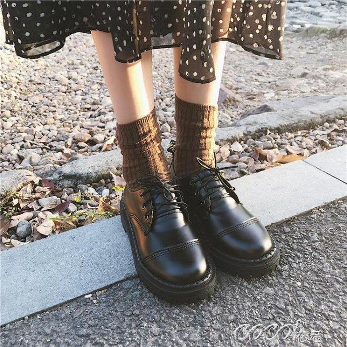 小皮鞋女 新款學生百搭韓版英倫復古小皮鞋女加絨棉鞋