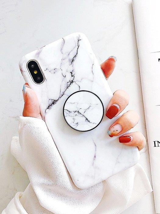 iPhone XS MAX X 8 76S 6 PLUS 手機殼 復古大理石紋 抖音氣囊支架 軟殼全包 防摔抗震 保護套