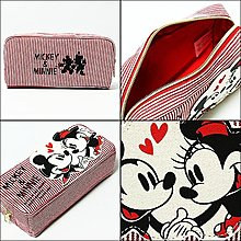 迪士尼米奇米妮帆布收納包 筆袋 化妝包 日本街頭通販品正版~彤小皮的遊go世界