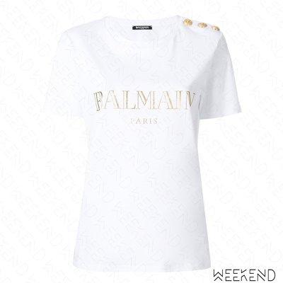 【WEEKEND】 BALMAIN Logo 文字 經典 肩膀鈕扣 金扣 短袖 T恤 上衣 白+金色 18春夏新款