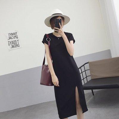 【UBY】開衩小黑裙!復古螺紋短袖連衣裙◄No08317