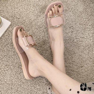 涼拖鞋女夏時尚外穿2020新款拖鞋旅游百搭平底沙灘涼鞋一字拖鞋【華陌日用品】