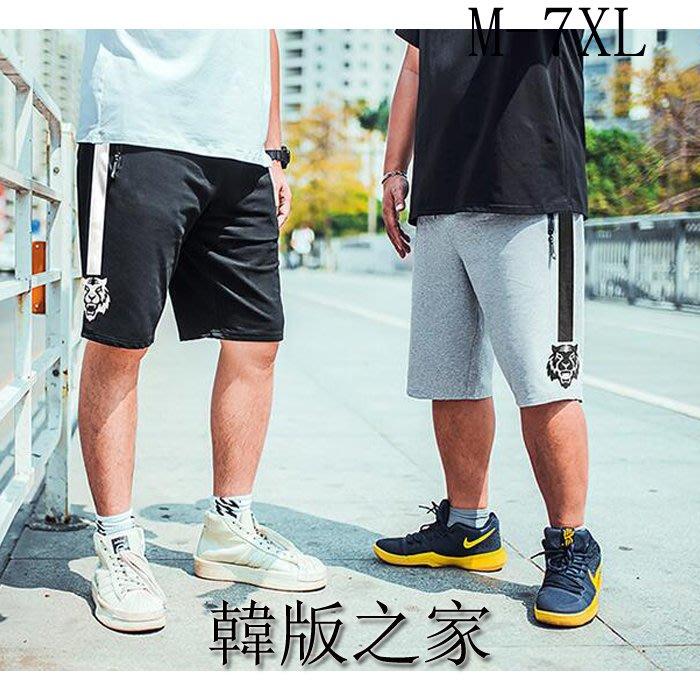 韓系新款大碼男裝松緊高腰印花五分運動休閑短褲子100KG以上可穿 Y59
