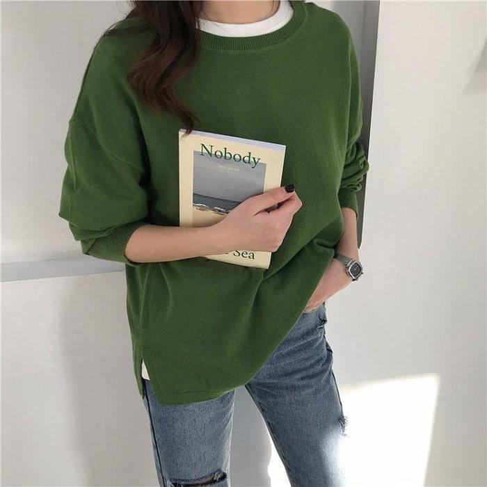 春季新款純色圓領毛衣寬版休閑長袖套頭針織衫女M7099