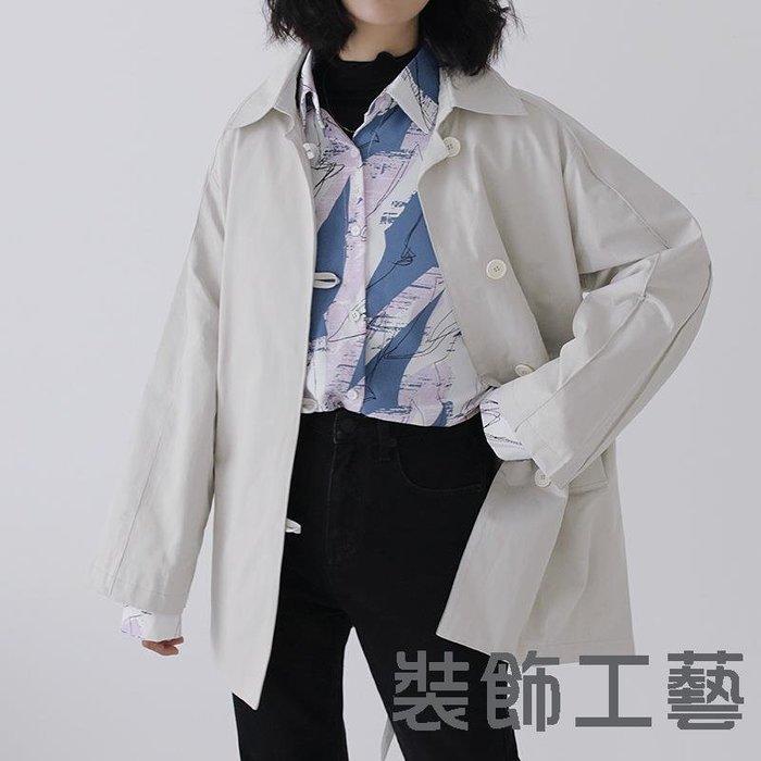 秋季新款韓版單排扣短款風衣廓形翻領氣質百搭休閑短外套
