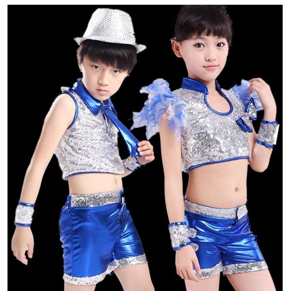 5Cgo【鴿樓】 會員有優惠 38408873308 閃亮兒童演出服裝幼兒舞蹈服亮片男女童表演服舞衣尾牙表演服