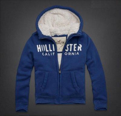 ☆瘋米國衣舖☆ 台中正品專賣 全新現貨 Hollister HCO 男生內鋪毛帽T外套 藍色 貼布款 保暖 舒適