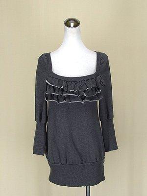 ◄貞新二手衣►IMPERIAL 義大利 灰色花朵羅馬領長袖棉質洋裝S號(67361)