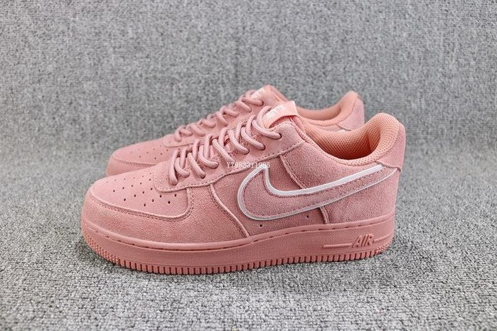 Nike Air Force 1 粉色 經典低幫 麂皮 休閒滑板鞋 女鞋 AA1117-601