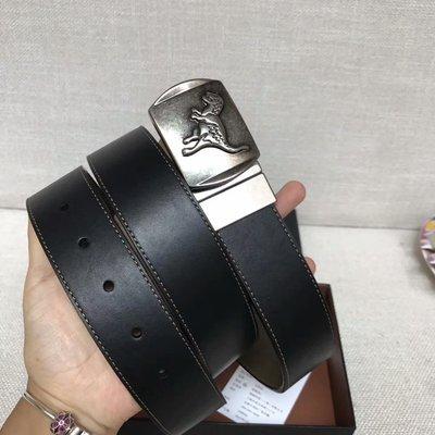 【紐約精品舖】COACH 87090 黑色 頭層牛皮純鋼扣 恐龍圖案 雙面通用皮帶 超低直購  附購買憑證