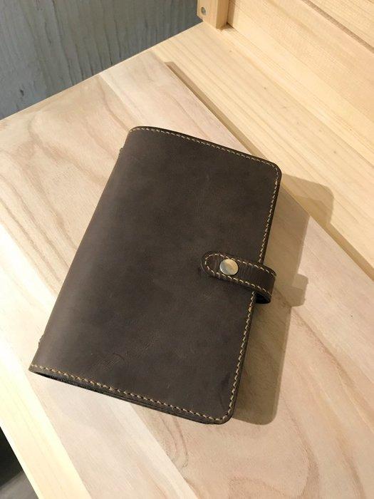 【IAN X EL】可扣式A6牛皮萬用手冊/行事曆/活頁筆記本 附純手工皮件