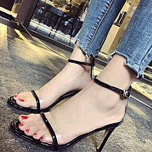 超夯夏季新款韓版百搭露趾漆皮涼鞋性感細跟一字扣法式少女高跟鞋
