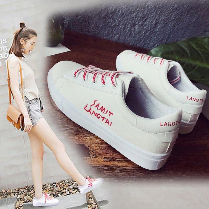 平底鞋 休閒鞋 小白鞋 正韓 潮流 學院風 夏季韓版街拍小白鞋女百搭帆布鞋學生女布鞋休閑港風板鞋