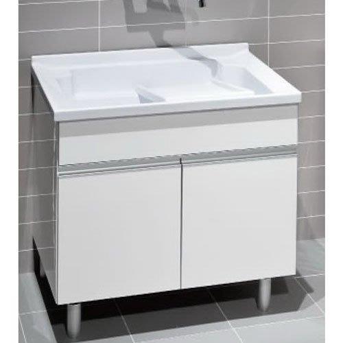 《101衛浴精品》台灣製造 100%全防水 一體成型 人造石 洗衣槽浴櫃組 80CM【免運】