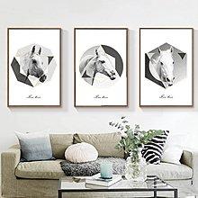 現代簡約俊馬餐廳裝飾畫畫芯客廳臥室掛畫美式藝術玄關(3款可選)