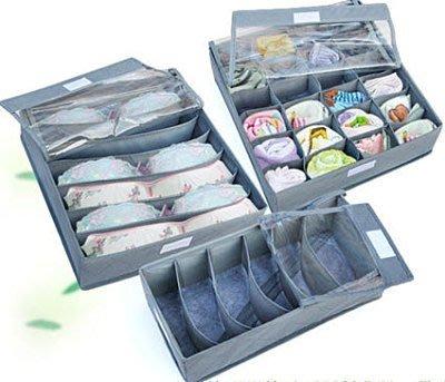 超實用帶透明蓋拉鏈竹炭收納盒三組合 內衣收納盒 收納箱 收納袋 領帶收納盒