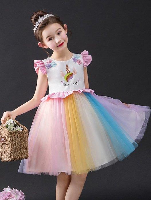 •*~ 辣媽咪衣飾小舖 ~*•❤童裝系列❤K960428韓版大童夏款甜美浪漫小孩公主蓬蓬裙網紗洋裝