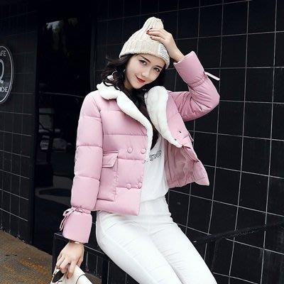 羽絨外套 翻領夾克-毛領雙排扣短款韓版女外套6色73pa32[獨家進口][米蘭精品]