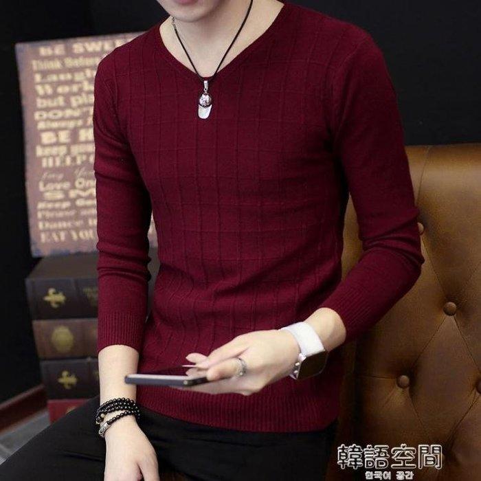 秋冬新款男純色格子V領毛衣韓版修身長袖針織衫打底衫薄款潮流男