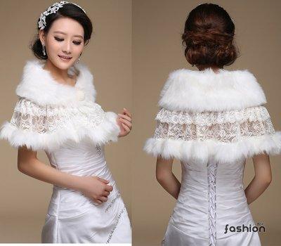 〔靚衫〕新娘伴娘婚禮兔毛加厚蕾絲披肩.圍巾.皮草(白9006)全館現貨.當日出貨