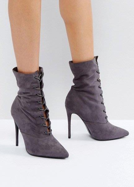 ◎美國代買◎ASOS代買馬甲鞋帶靴筒設計歌德時尚尖頭鞋帶細跟中筒靴帶高跟靴~歐美街風~大尺碼
