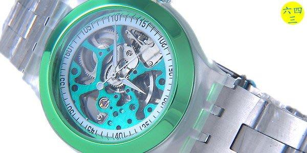 (六四三精品)GQER(真品)雙面鏤空手上鍊機械錶.果凍半透明錶殼.糖果綠彩色澤!