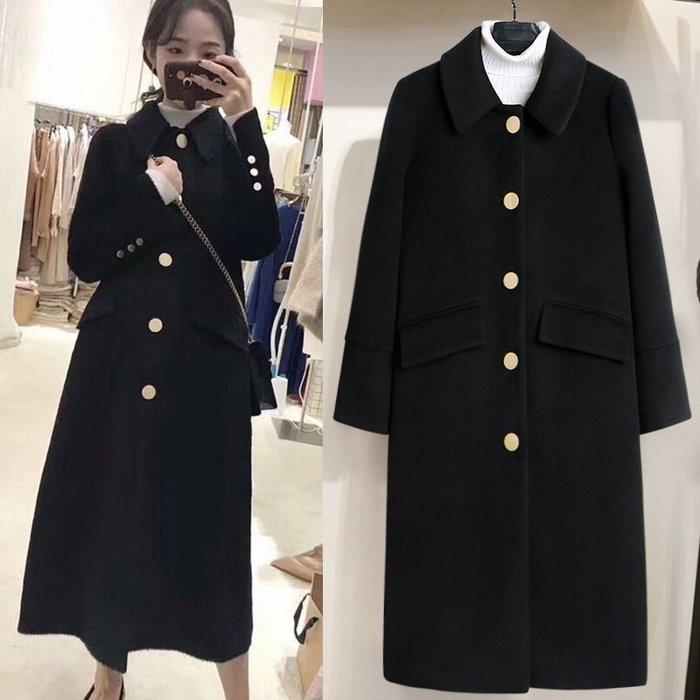 ✿✿拿鐵小姐MISS LATTE✿✿ 赫本風 小香風扣子 氣質 中長款   雙面呢 大衣毛呢外套
