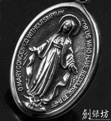 【創銀坊】聖母 瑪利亞 925純銀 墜子 神 天主教 上帝 十字架 耶穌 天使 Tiffany 金 項鍊(P-2603)