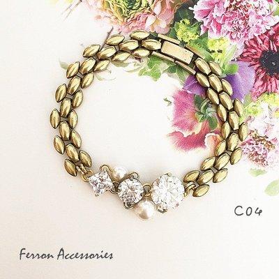 Ferron Accessories    C04  幾何鋯石珍珠手鍊  黃銅 訂製 Handmade 復古 歐美