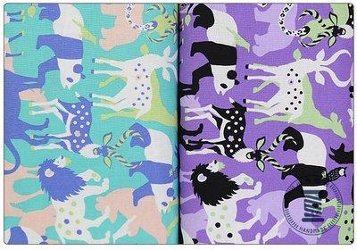 ✿小布物曲✿可愛動物園 純棉麻印花布 (厚) 窄幅110CM 日本進口質感優 共4色 單價/尺
