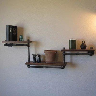 【奇滿來】美式鄉村隔板鐵藝書架 DIY 壁掛牆上實木置物架 復古創意水管家俱 鐵藝厚實書架  創意展壁 AVAX