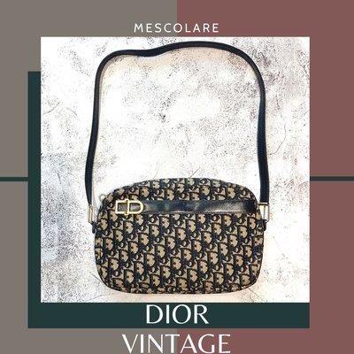 售罊mescolare二手精品正品Dior vintage經典提花Logo包古董包monogram深藍系兩用包老花包