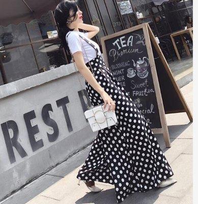 吊帶褲裙 兩件套 波點吊帶連體闊腿褲裙+短袖針織白T恤上衣套裝—莎芭